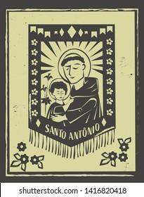 Santo Antonio(Saint Anthony) illustration for Festa Junina decoratio vector. Brazilian woodcut style.