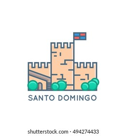 Santo Domingo, Dominican Republic Vector Flat Line Illustration