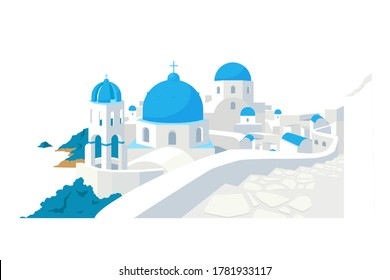 Santorini buildings flat color vector object. Traditional Greek white houses with blue roofs European culture isolated cartoon illustration for web graphic design and animation