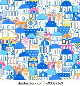 Santorini cityscape seamless pattern. Oia village, Greece. Flat and cartoon linear illustration. Vector