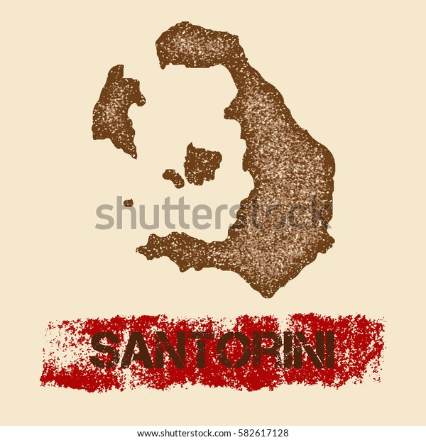 Santorini distressed map. Grunge patriotic poster with textured Santorini outline ink stamp and roller paint mark, vector illustration.