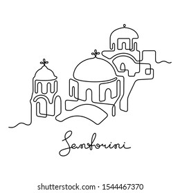 Santorini, Greece. Continuous line vector illustration