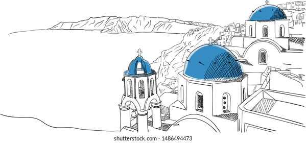 Santorini Greece hand drawn sketch