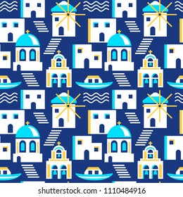Santorini greece island seamless pattern. Bright cartoon buildings and a boat on water. Vector illustration
