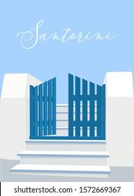 Santorini island gate in Greece. Illustration, vector.