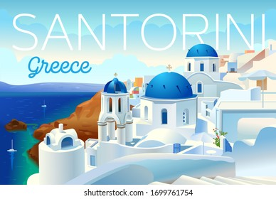Santorini island, Greece. Beautiful traditional white architecture and Greek Orthodox churches with blue domes over the caldera, Aegean Sea. Scenic travel background. Advertising card, flyer, vector