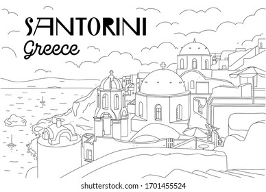 Santorini island, Greece. Beautiful traditional white architecture and Greek Orthodox churches with blue domes over the caldera, Aegean Sea. Scenic travel background. Linear illustration