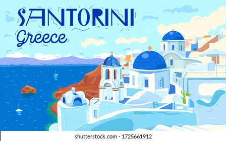Santorini island, Greece. Beautiful traditional white architecture and Greek Orthodox churches with blue domes over the caldera, Aegean Sea. Scenic travel background. Flat vector illustration