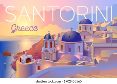 Santorini island, Greece, evening view, sunset. Beautiful traditional white architecture and Greek Orthodox churches with blue domes over the caldera. Vector Illustration