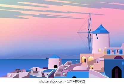 Santorini island. Greece landscape. Dawn in the old town. Sea, mountains, windmill and houses. Vector illustration