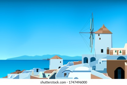 Santorini island. Greece landscape. Od town in spring or summer. Sea, mountains, windmill and houses. Vector illustration