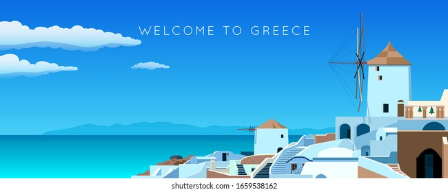 Santorini island. Greece landscape. Wide panorama old town in spring or summer. Sea, mountains, windmill and houses. Vector illustration