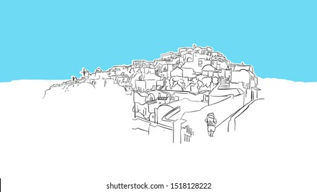 Santorini Island Greece Lineart Vector Sketch. and Drawn Illustration on blue background.