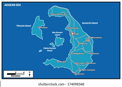 Santorini Island Vector Map Greece. This is a very detailed map of Santorini Island in Cyclades Greece Aegean sea. It has a layer with roads and major cities.