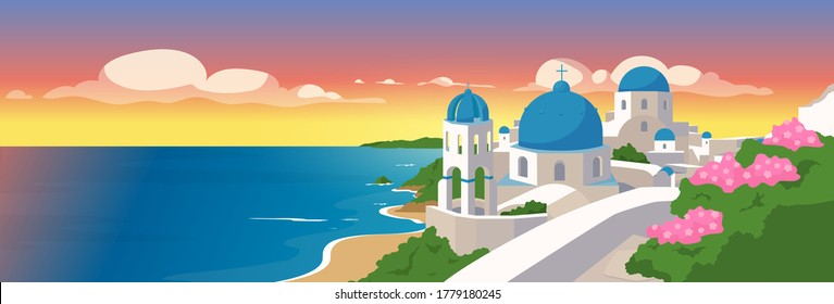 Santorini islands flat color vector illustration. Traditional white buildings with blue roofs in Greece. Greek architecture panoramic view 2D cartoon with seascape on background