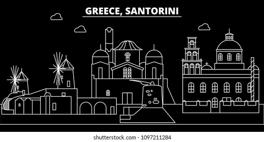 Santorini silhouette skyline. Greece - Santorini vector city, greek linear architecture, buildings. Santorini travel illustration, outline landmarks. Greece flat icons, greek line banner