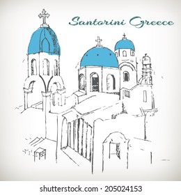 Santorini view of caldera with churches,Greece vector