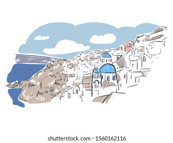 Santotini island  Greece Europe vector sketch city illustration line art