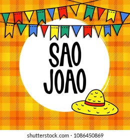 Sao Joao or Festa junina, Brazilian june party greeting card, invitation. Vector illustration background with garland of hand drawn flags and straw hat.