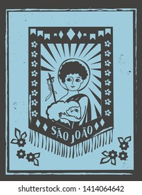 Sao Joao (St. John the baptist) illustration for Festa Junina decoratio vector. Brazilian woodcut style.