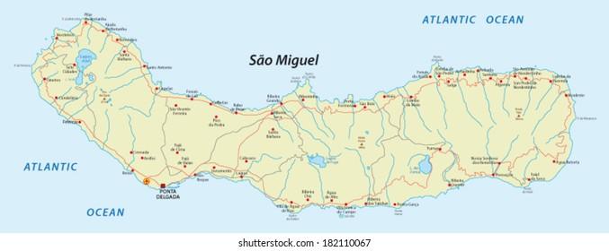 sao miguel island, azores map