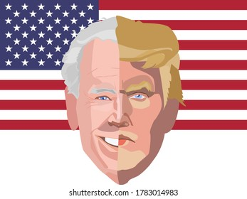 Sao Paulo BRASIL - JULY 24 2020 : Illustration of the two candidates who will run for president of the United States 2020. A single face, half of which is Donald Trump and the other half Joe Biden.