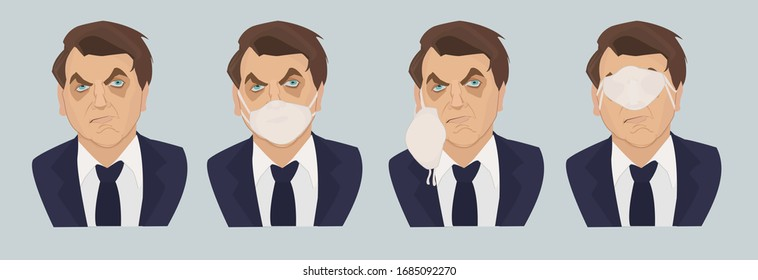 Sao Paulo BRASIL - MARCH 27 2020 :   Illustration of the president of Brazil Bolsonaro, wearing a mask against the pandemic. Ironic illustration of the behavior of the president who denies the covid19