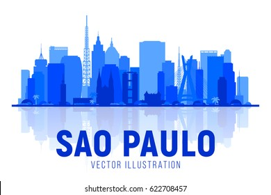 Sao Paulo (Brazil) city silhouette skyline on whithe background. Vector Illustration. Business travel and tourism concept with modern buildings. Image for banner or web site.