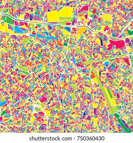 Sao Paulo, Brazil, colorful vector map.  White streets, railways and water. Bright colored landmark shapes. Art print pattern.