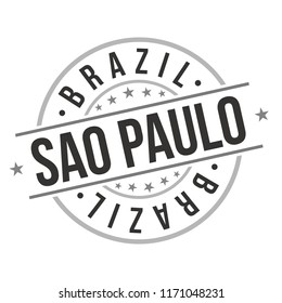 Sao Paulo Brazil Quality Original Stamp Design Vector Art Tourism Souvenir Round