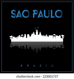 Sao Paulo, Brazil, skyline silhouette vector design on parliament blue and black background.