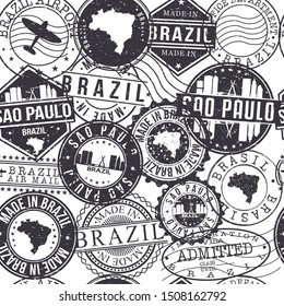 Sao Paulo Brazil Stamps. City Stamp Vector Art. Postal Passport Travel. Design Set Pattern.