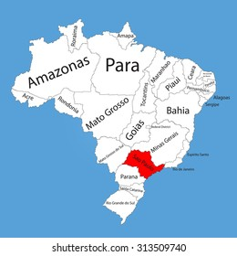 Sao paulo brazil vector map isolated stock vector 242993590 sao paulo brazil vector map isolated on brazil map editable vector map of gumiabroncs Gallery