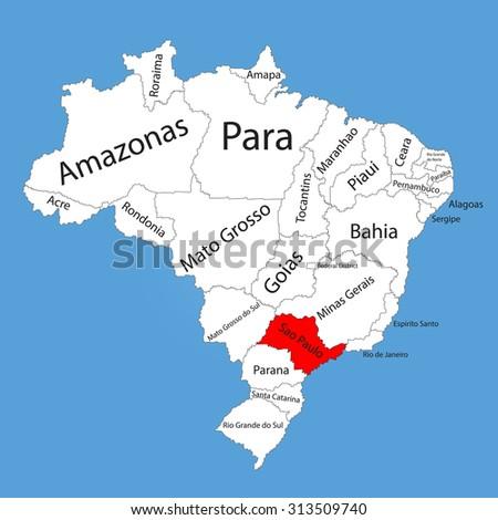 Sao Paulo Brazil Vector Map Isolated Stock Vector Royalty Free