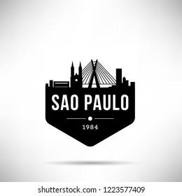 Sao Paulo City Modern Skyline Vector Template