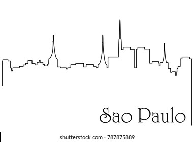 Sao Paulo city one line drawing background