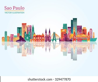Sao Paulo detailed skyline. Vector illustration