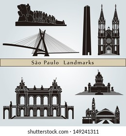 Sao Paulo landmarks and monuments isolated on blue background in editable vector file