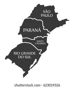 Sao Paulo - Parana - Santa Catarina - Rio Grande do sul Map Brazil illustration