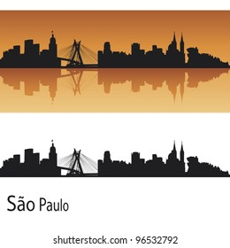 Sao Paulo skyline in orange background in editable vector file