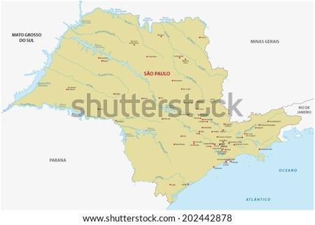 Sao Paulo State Map.Sao Paulo State Map Stock Vector Royalty Free 202442878 Shutterstock