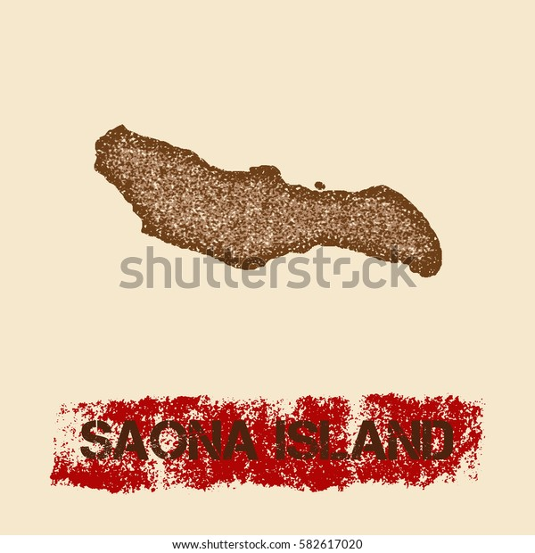 Saona Island distressed map. Grunge patriotic poster with textured Saona Island outline ink stamp and roller paint mark, vector illustration.