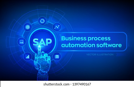 SAP Business process automation software. ERP enterprise resources planning system concept on virtual screen. Robotic hand touching digital interface. AI. Artificial intelligence. Vector illustration.