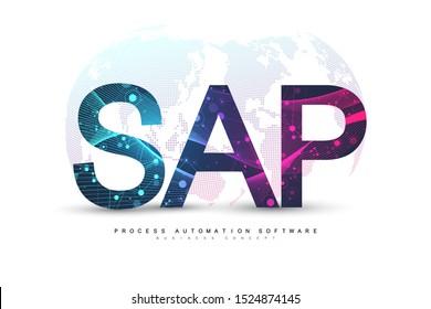 SAP Business process automation software. ERP enterprise resources planning system concept banner template. Technology future sci-fi concept SAP. Artificial intelligence. Vector illustration.