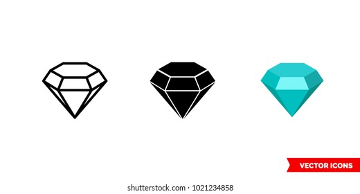 Saphire symbol icon of 3 types: color, black and white, outline. Isolated vector sign symbol.