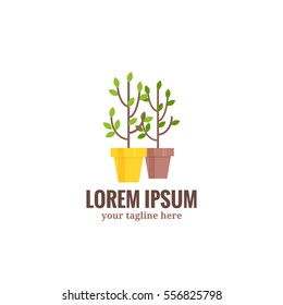 Saplings of garden trees or plants in flowerpots .Vector logo symbol of gardening and floriculture isolated on white background. Cartoon style vector illustration.