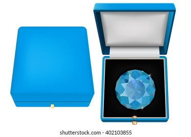 Sapphire in jewel case. Blue gift case with gem. Vector illustration isolated on white background