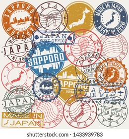 Sapporo Japan. Set of Stamps. Travel Stamp. Made In Product. Design Seals Old Style Insignia.