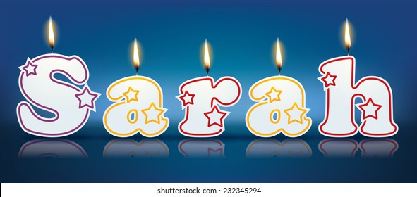 SARAH written with burning candles - vector illustration