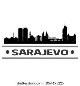 Sarajevo Bosna Herzegovina Skyline Silhouette Stamp City Design Vector Art Template